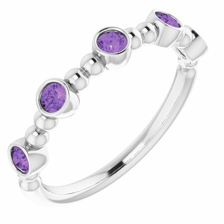 Sterling Silver Stackable Amethyst Bead Ring