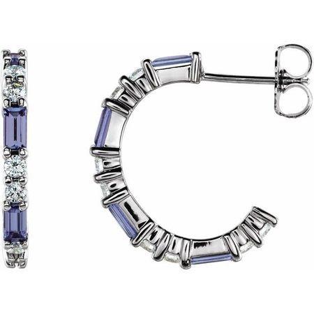 Genuine Tanzanite Earrings in Sterling Silver Tanzanite & 1/2 Carat Diamond Earrings