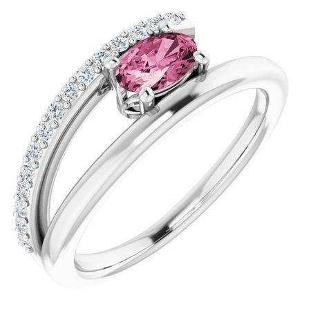 Pink Tourmaline Ring in Sterling Silver Tourmaline & 1/8 Carat Diamond Ring