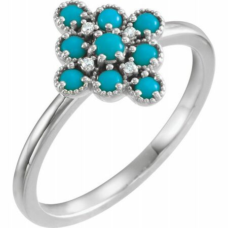 Genuine Turquoise Ring in Sterling Silver Turquoise & .02 Carat Diamond Ring