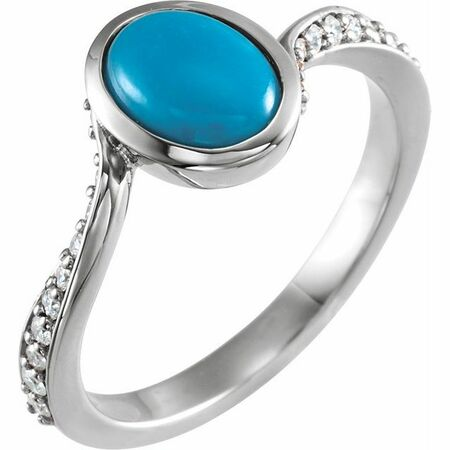 Genuine Turquoise Ring in Sterling Silver Turquoise & 0.2 Carat Diamond Ring