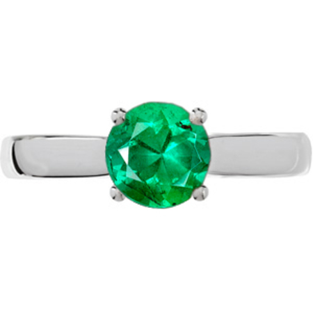 Streamlined & Shop Real 4-Prong Round Solitaire Genuine Low Price on GEM 1 carat 6mm Emerald Engagement Ring - Diamond Accents at Base of Prongs