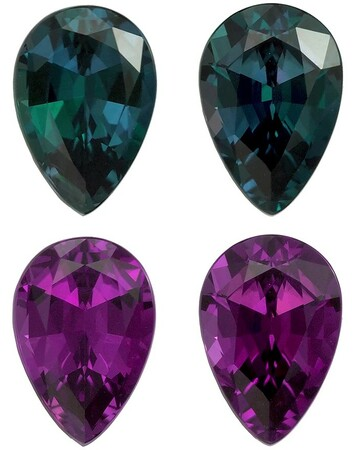 Exceptionally Rare Alexandrite Pear Shaped Gemstones Matching Pair with Gubelin Cert,, 2.43 carats, 8.2 x 5.6 x 3.7 mm - Super Gems