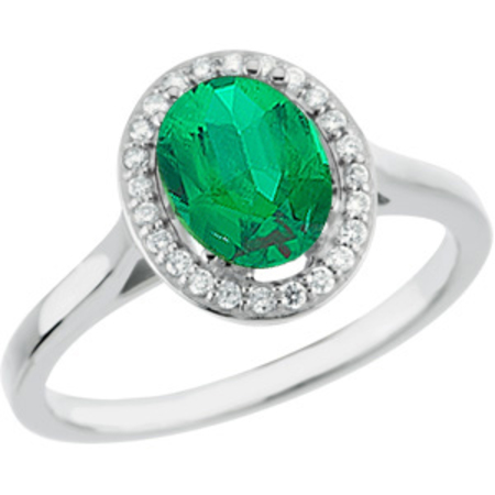 Low Price on 1 carat 7.00 x 5.00 mm GEM Genuine Columbian Emerald set in White Gold Designer Ring for SALE