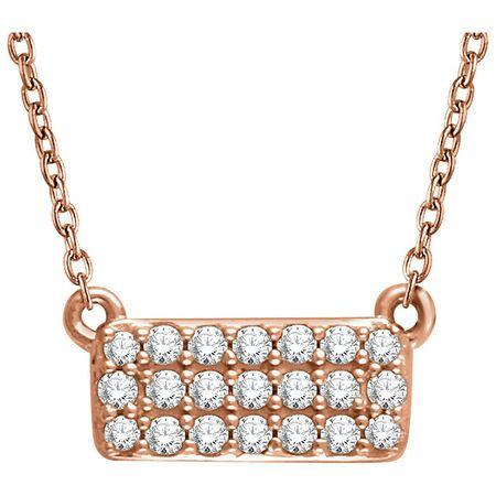Genuine Diamond Necklace in 14 Karat Rose Gold 1/6 Carat Diamond Rectangle Cluster 16-18