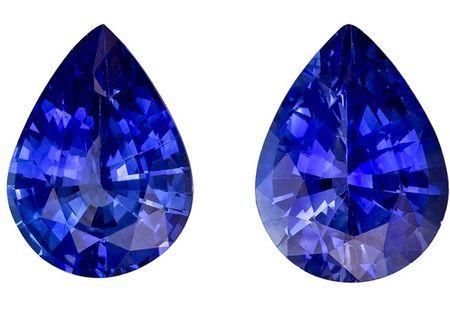Stunning Gem in 2.25 carats Sapphire Loose Genuine Gemstone Pair in Pear Cut, Rich Blue, 7.9 x 6 mm