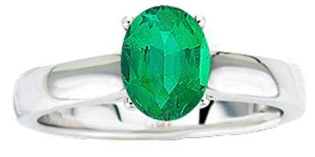 Low Price on Quality Large Oval Genuine 1 carat 7x5mm Emerald set in Buy Real Solitaire White Gold Mounting for SALE