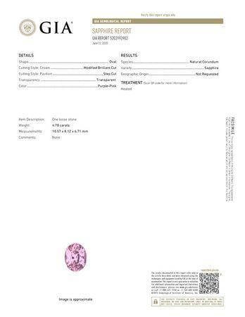 Super Gem - Extraordinary Fine  Pink Sapphire Genuine Gemstone, 4.78 carats, Oval Shape, 10.57 x 8.12 x 6.71 mm  with GIA Certificate