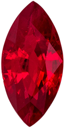Super Nice Ruby Loose Gemstone, Rich Pure Red, Marquise Cut, 8.1 x 4 mm, 0.76 carats