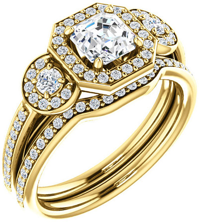 Three Stone Halo Engagement Ring for Asscher Gemstone Size 5mm to 7mm