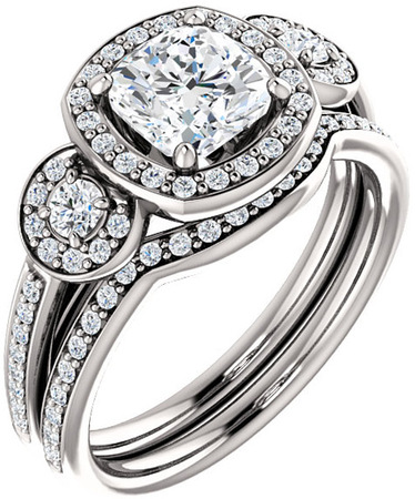 Three Stone Halo Engagement Ring for Cushion Gemstone Size 5mm to 8mm