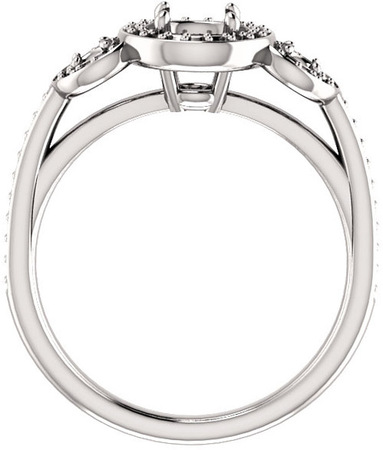 Three Stone Halo Engagement Ring for Round Gemstone Size 4.10mm to 8mm