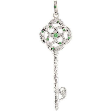 Red Garnet Pendant in Sterling Silver Tsavorite Garnet Key Pendant