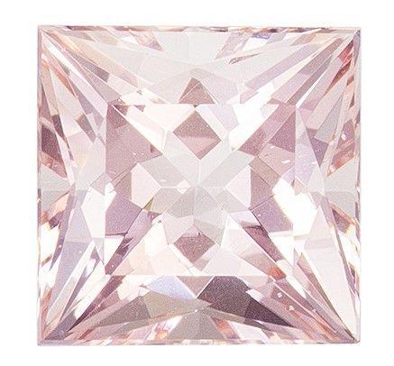 Unique Gem 1.85 carats Morganite Loose Genuine Gemstone in Princess Cut, Light Peach, 7 mm