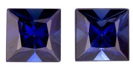 Unset Blue Sapphire Gemstones, Princess Cut, 1.06 carats, 4.2 mm Matching Pair, AfricaGems Certified - A Great Buy