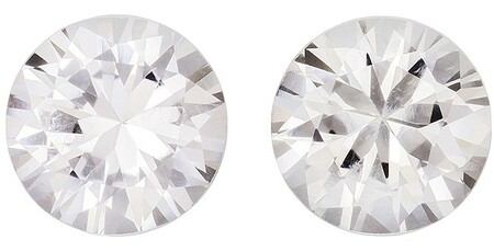 Unset White Sapphire Gemstones, Round Cut, 1.83 carats, 5.9 mm Matching Pair, AfricaGems Certified - Great for Studs