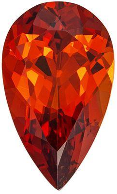 Very Attractive Spessartite Genuine Gemstone in Pear Cut, 13.4 x 7.9 mm, Flame Orange, 3.91 carats