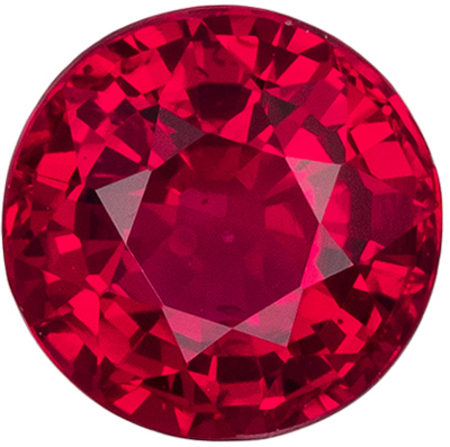 Very Bright Ruby Genuine Gemstone, Round Cut, Pigeon's Red, 5 mm, 0.67 carats