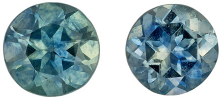 Low Price Blue Green Sapphire Matching Gemstone Pair in Round Cut, 0.31 carats, Teal Blue Green, 3 mm