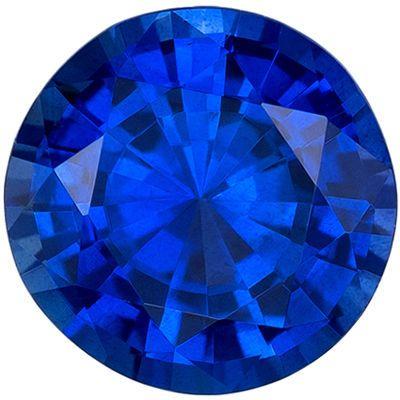 Low Price Blue Sapphire Genuine Loose Gemstone in Round Cut, 1.2 carats, Intense Rich Blue, 6.5 mm