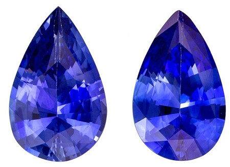 Very Fine 1.51 carats Sapphire Loose Genuine Gemstone Pair in Pear Cut, Intense Blue, 8 x 5 mm