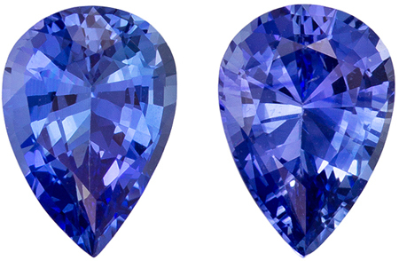 Great Blue Sapphire Well Matched Gemstone Pair, Pear Cut, Vivid Blue, 1.6 carats , 7 x 5 mm