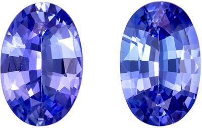Very Fine 6.1 x 4 mm Sapphire Loose Genuine Gemstone Pair in Oval Cut, Vivid Blue, 1.02 carats