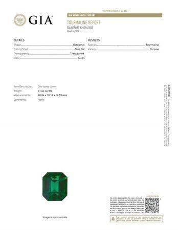 Very Rare Chrome Tourmaline Gemstone, Emerald Cut, 41.64 carats, 20.84 x 18.13 x 14.59 mm , GIA Certified - A Hard to Find Gem