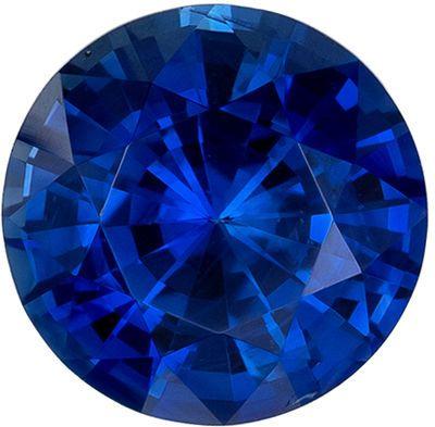 Wonderful Blue Sapphire Genuine Loose Gemstone in Round Cut, 1.3 carats, Vivid Intense Blue, 6.4 mm