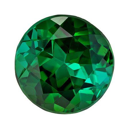 Wonderful Green Tourmaline Genuine Loose Gemstone in Round Cut, 2.35 carats, Blue Tinged Medium Green, 8.1 mm
