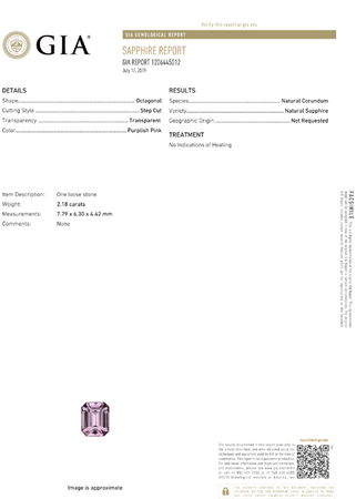 Wonderful No Treatment GIA Certified Sapphire Loose Gem, 7.79 x 6.3 x 4.42 mm, Pure Baby Pink, Emerald Cut, 2.18 carats