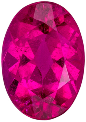 Wonderful Rubellite Tourmaline Loose Gem in Oval Cut, 6.9 x 4.8 mm, Fuchsia Pink, 0.76 carats