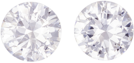 Wonderful White Sapphire Well Matched Gemstone Pair, Colorless White, Round Cut, 7.4 mm, 3.13 carats