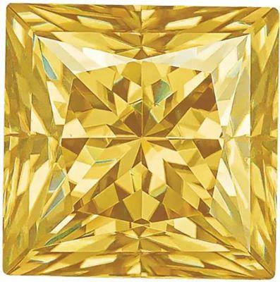 Yellow Color Moissanite Princess Cut