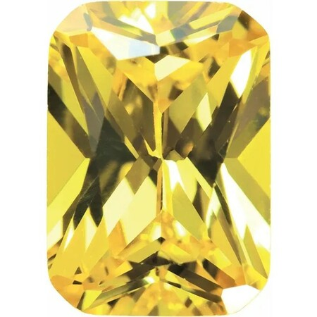 Yellow Cubic Zirconia Emerald Cut Stones