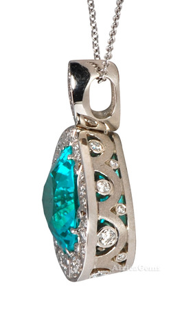 10 ct + Gem Paraiba Tourmaline & Diamond One of A Kind Pendant by Christoph  - SOLD