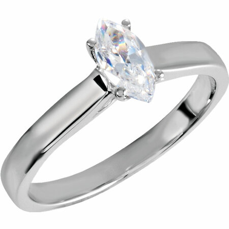 Perfect Gift Idea in 10 Karat White Gold 0.50 Carat Total Weight Diamond Engagement Ring