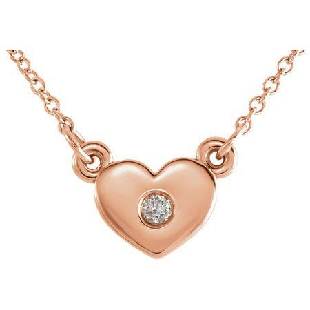 Graceful 14 Karat Rose Gold .03 Carat Total Weight Round Genuine Diamond Heart 16