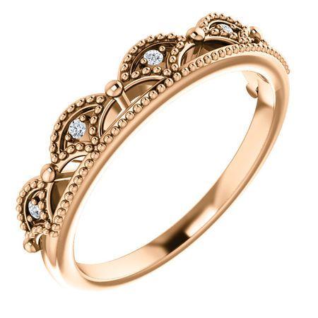 Perfect Gift Idea in 14 Karat Rose Gold .04 Carat Total Weight Diamond Crown Ring