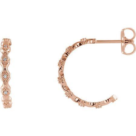 Beautiful 14 Karat Rose Gold .05 Carat Total Weight Diamond Hoop Earrings