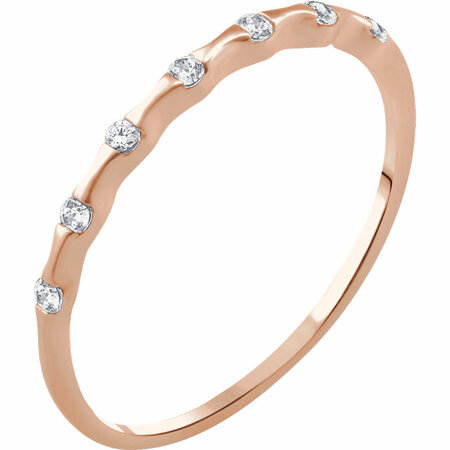 Appealing Jewelry in 14 Karat Rose Gold .06 Carat Total Weight Diamond Stackable Ring