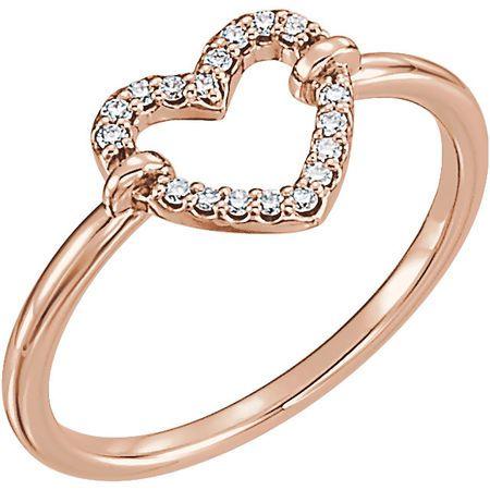 Easy Gift in 14 Karat Rose Gold .08 Carat Total Weight Diamond Heart Ring