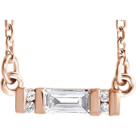Eye Catchy 14 Karat Rose Gold 0.10 Carat Total Weight Diamond Bar 16-18