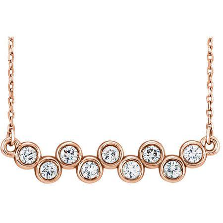 Great Buy in 14 Karat Rose Gold 0.50 Carat Total Weight Diamond Bezel-Set Bar 16-18