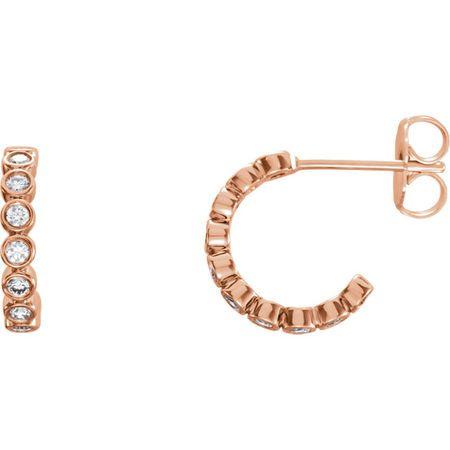 Gorgeous 14 Karat Rose Gold 0.25 Carat Total Weight Diamond Bezel-Set J-Hoop Earrings