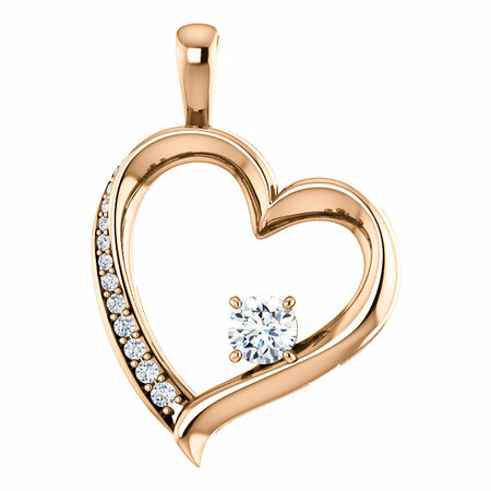 Wonderful 14 Karat Rose Gold 0.33 Carat Total Weight Diamond Pendant