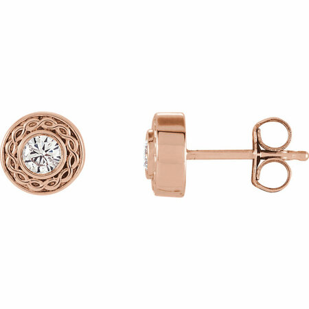 Pleasing 14 Karat Rose Gold 1/5 Carat Total Weight Round Genuine Diamond Earrings