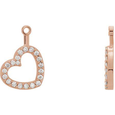 Fine Quality 14 Karat Rose Gold 0.20 Carat Total Weight Diamond Heart Earring Jackets