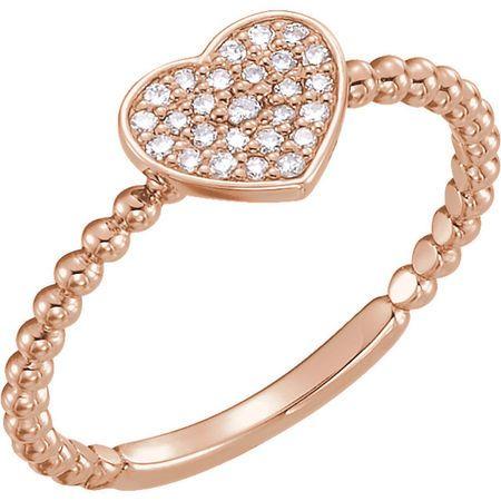 Chic 14 Karat Rose Gold 0.12 Carat Total Weight Diamond Heart Bead Ring