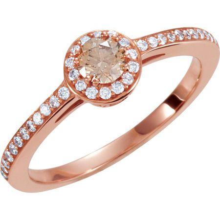 Stunning 14 Karat Rose Gold 0.40 Carat Total Weight Diamond Engagement Ring